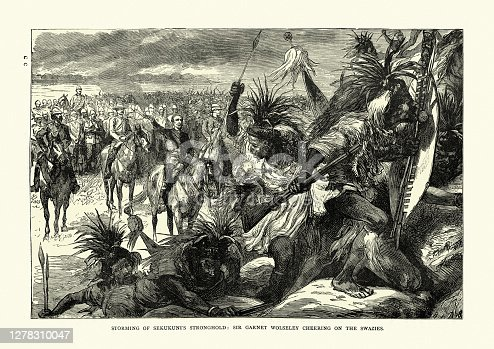 Vintage illustration Storming of Sekukuni'd stronghold, Sir Garnet Wolseley cheering on the Swazies, 19th Century