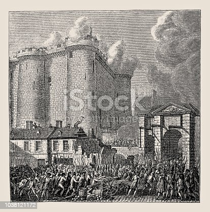 Illustration of a Storming of the Bastille Paris France 1789