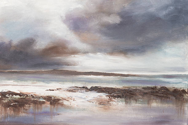 stormy beach seascape. - oil painting stock illustrations
