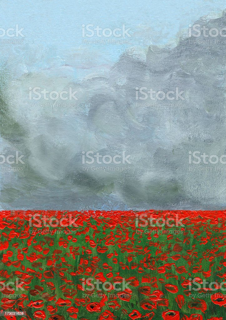 Stormy Clouds over Poppy Field royalty-free stock vector art