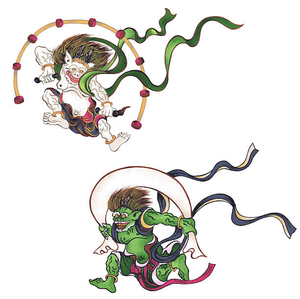 stormy god and god of the thunder It is God appearing in the Japanese myth god stock illustrations