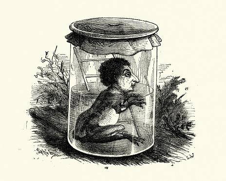 Strange frog man monster freak in a jar