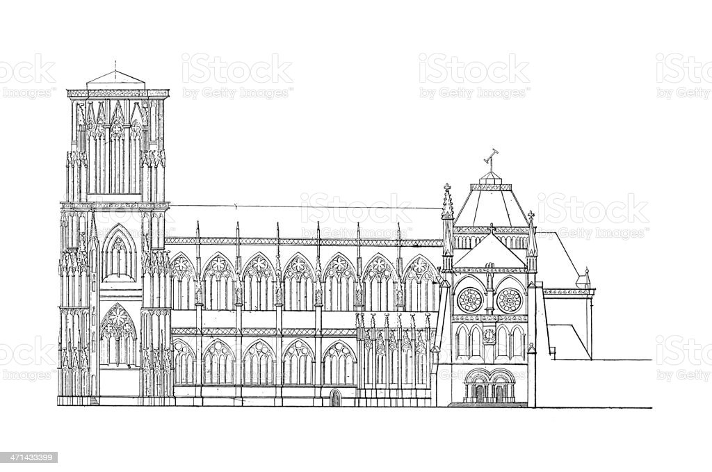 Strasbourg Cathedral, France | Antique Architectural Illustrations vector art illustration