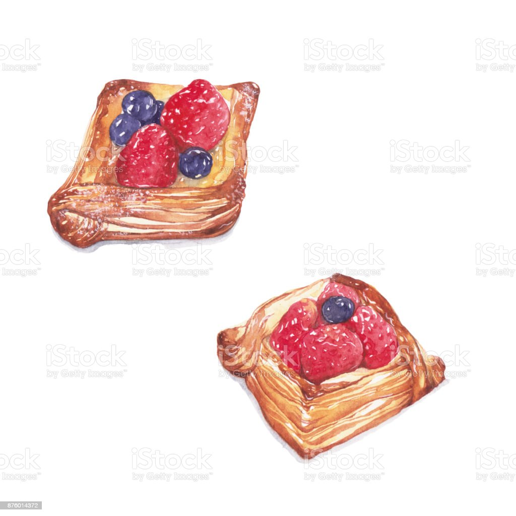 Strawberry and blueberry danish . vector art illustration