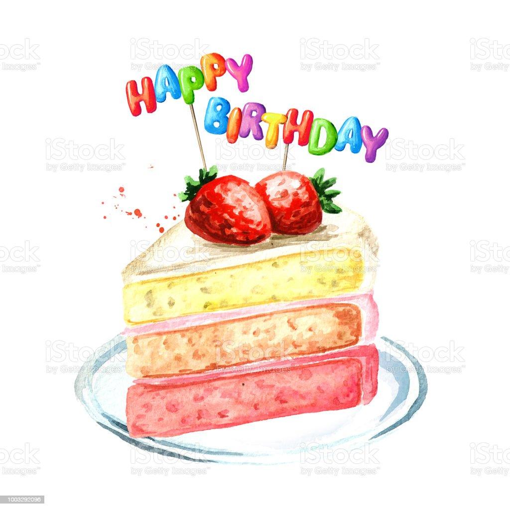 イチゴケーキ誕生日組成物水彩の手描きイラスト白い背景で隔離 お祝い