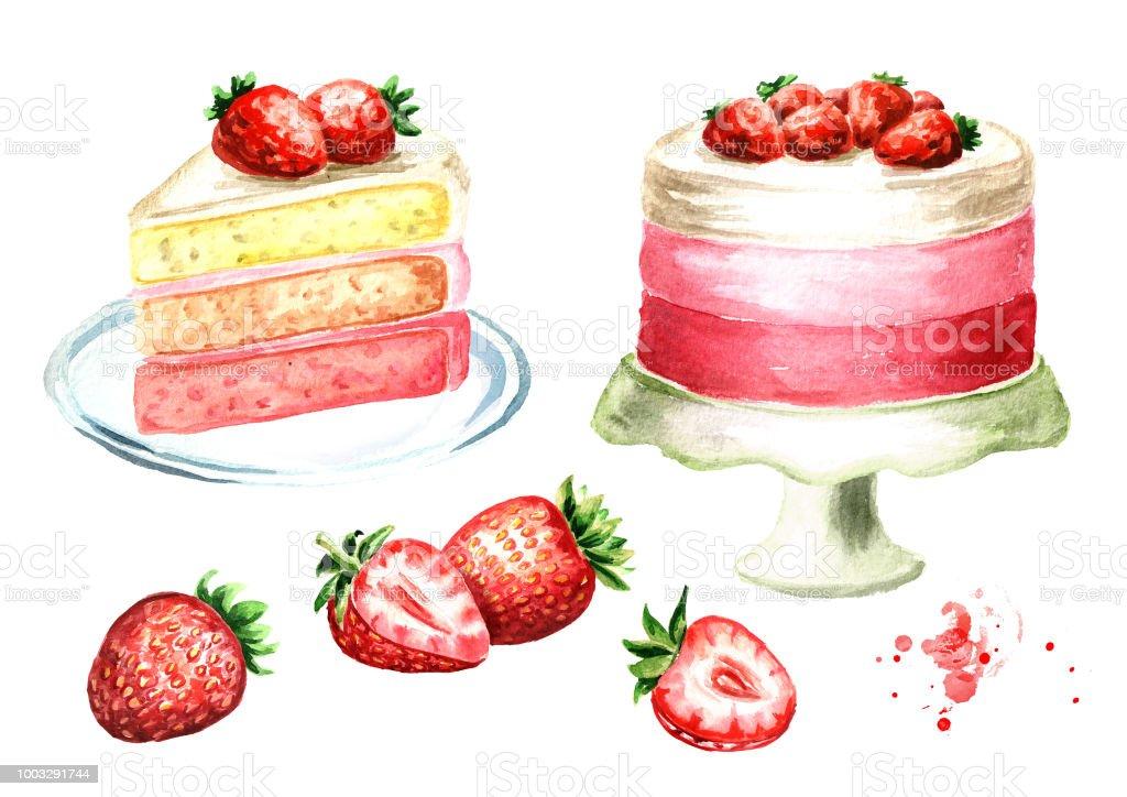 イチゴのケーキのセットです水彩の手描きイラスト白い背景で隔離