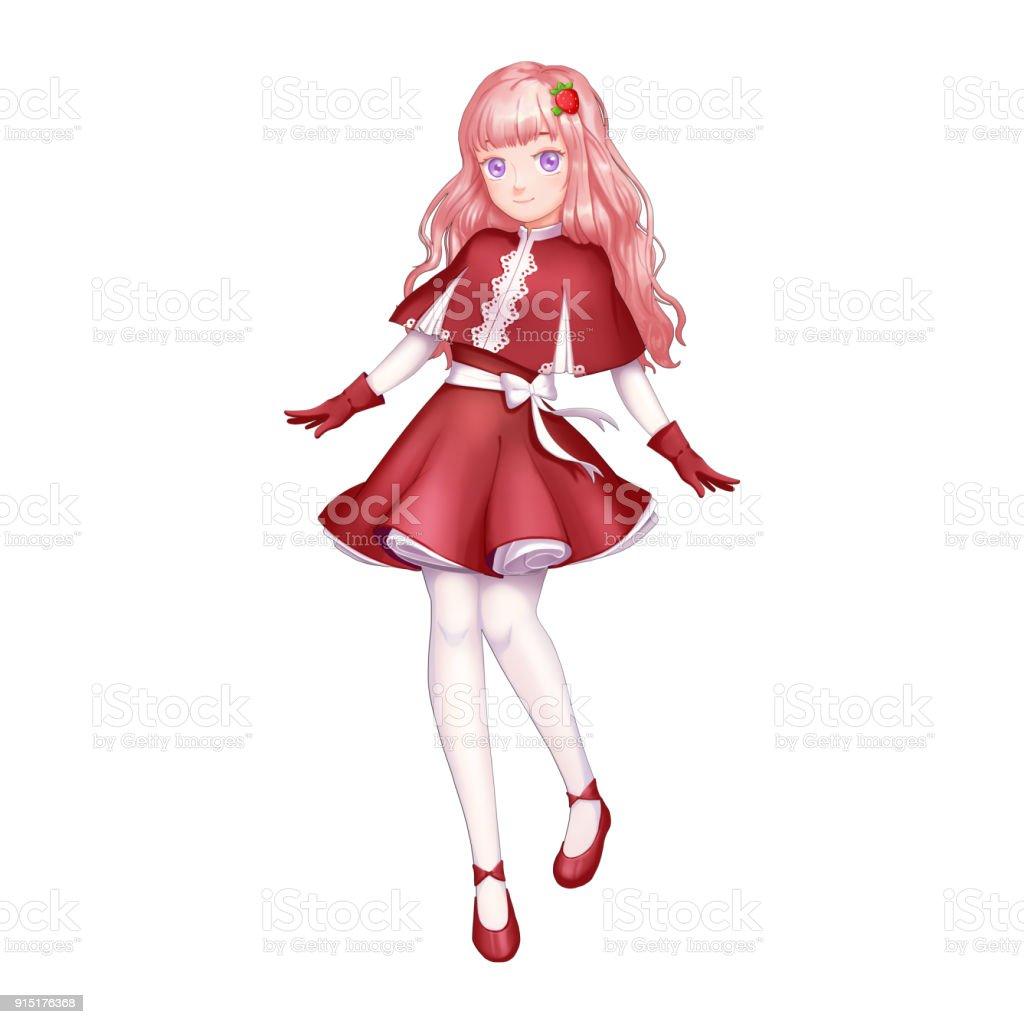 Ilustración de Chica Fresa Con Estilo De Dibujos Animados Y Anime y ...