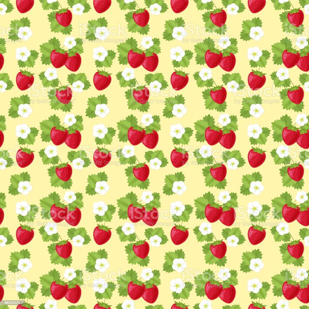 Strawberry seamless pattern vector art illustration