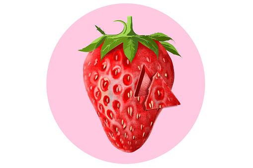 3D Strawberry stock illustration