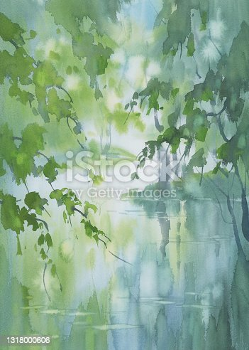 istock A stream in the forest in spring watercolor background 1318000606