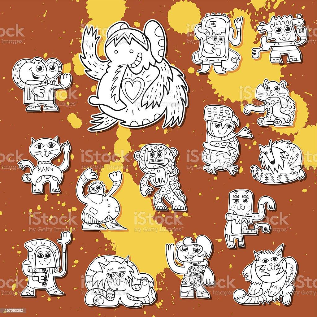 Street Art Doodle Creature Collection vector art illustration