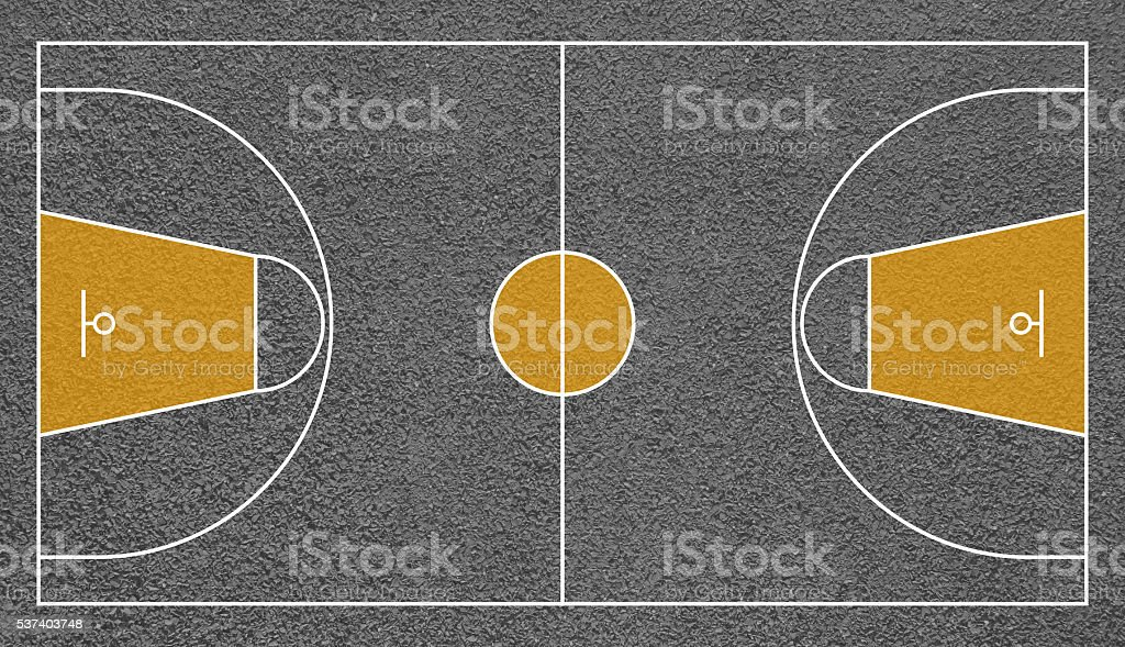 Street basketball court top view field textured vector art illustration
