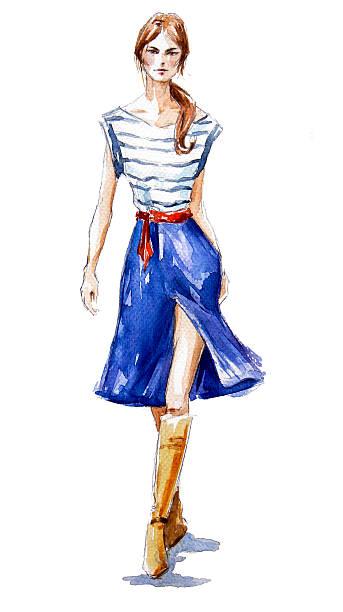 street fashion. a girl walking. summer look. - summer fashion stock illustrations, clip art, cartoons, & icons