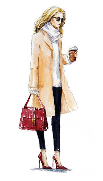 street fashion vectorielle. aquarelle peinture. look d'automne - Illustration vectorielle