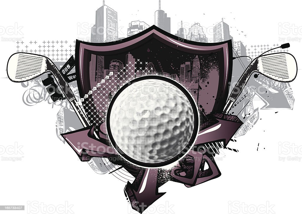 Street Golf Shield vector art illustration