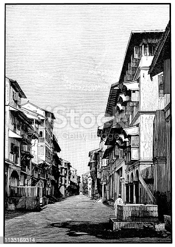 illustration of a Street in Bombay