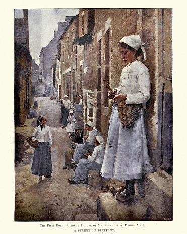 Street in Brittany by Stanhope Forbes, 19th Century