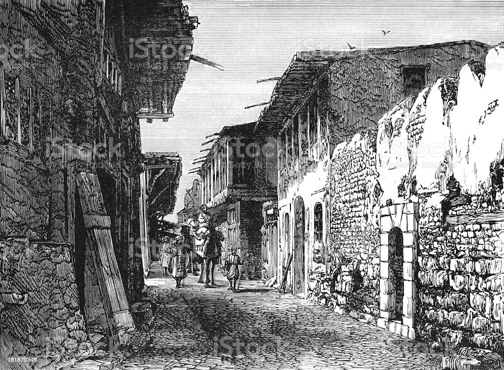 Street in Damascus - Victorian engraving royalty-free stock vector art