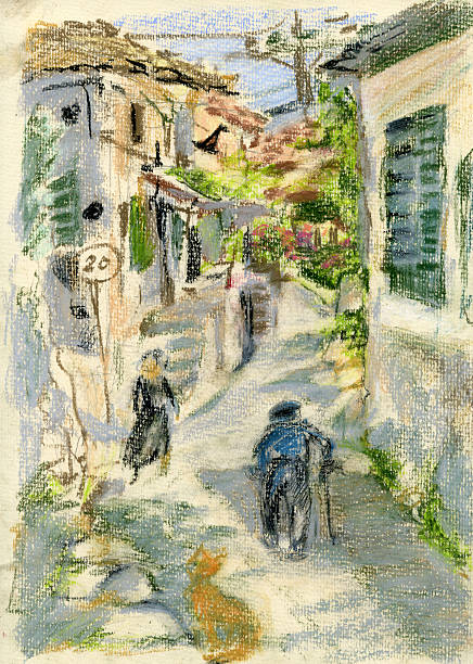 street in greek village - old man picture pictures stock illustrations, clip art, cartoons, & icons