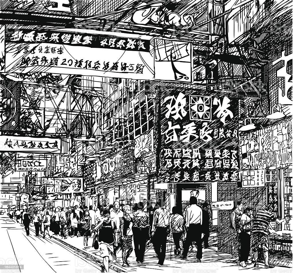 Hong Kong Art: Street In Hong Kong Stock Vector Art & More Images Of Asia