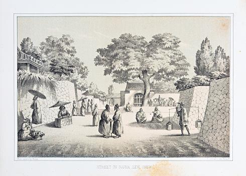 Street in Napha, Lew Chew (Ryukyu), Japan - lithograph 1856