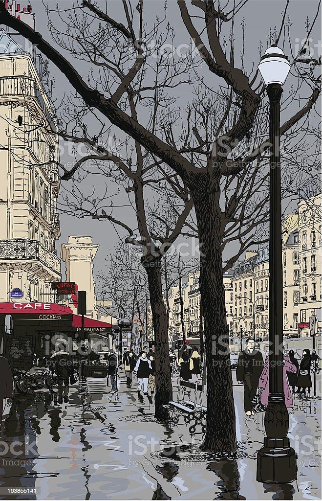street in Paris under the rain royalty-free stock vector art
