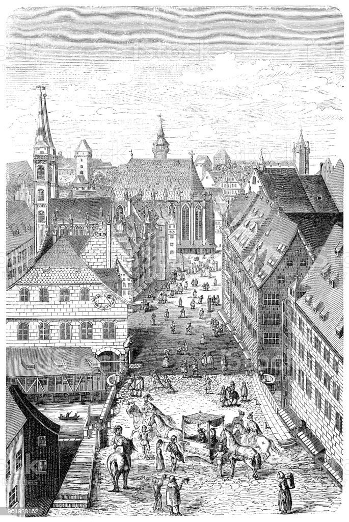 Street in the city of Nuremberg Germany in the 15th century vector art illustration