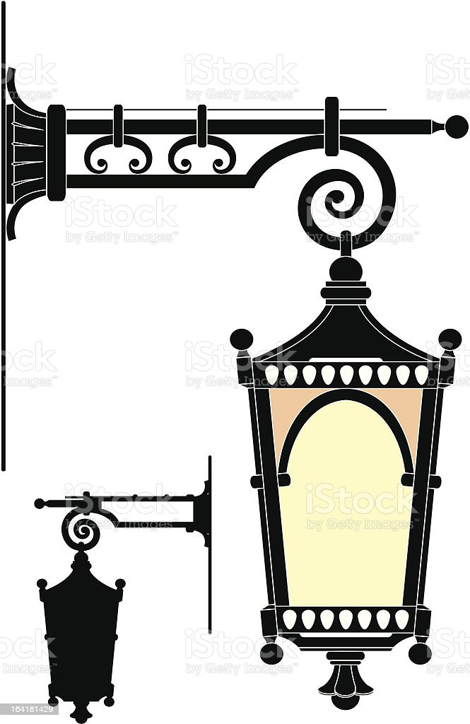 Street lantern from the forged metal royalty-free stock vector art