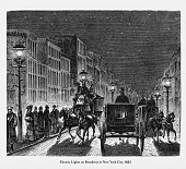 Beautifully Illustrated Antique Engraved Victorian Illustration of Street Lighting by Electric Lights in New York City Victorian Engraving, 1883. Source: Original edition from my own archives. Copyright has expired on this artwork. Digitally restored.