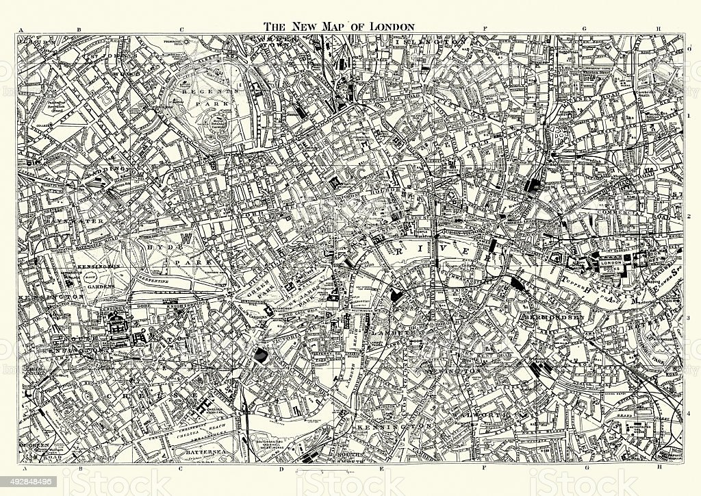 Street Map of Victorian London 1895 vector art illustration