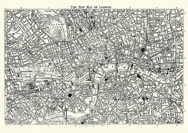 地図のビクトリアロンドン 1895 - ビンテージの地図点のイラスト素材/クリップアート素材/マンガ素材/アイコン素材