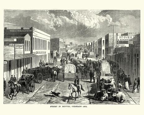 Vintage engraving of a Street on Denver, Colorado, 19th Century