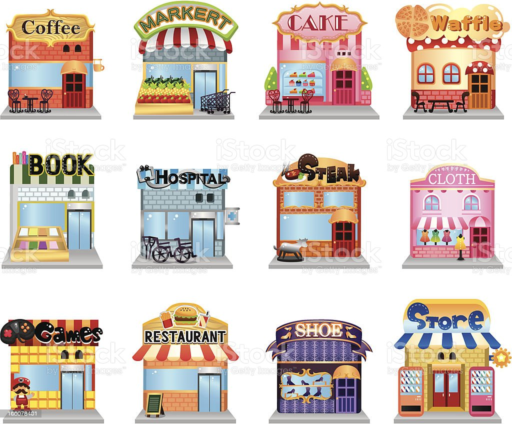 street shop vector art illustration