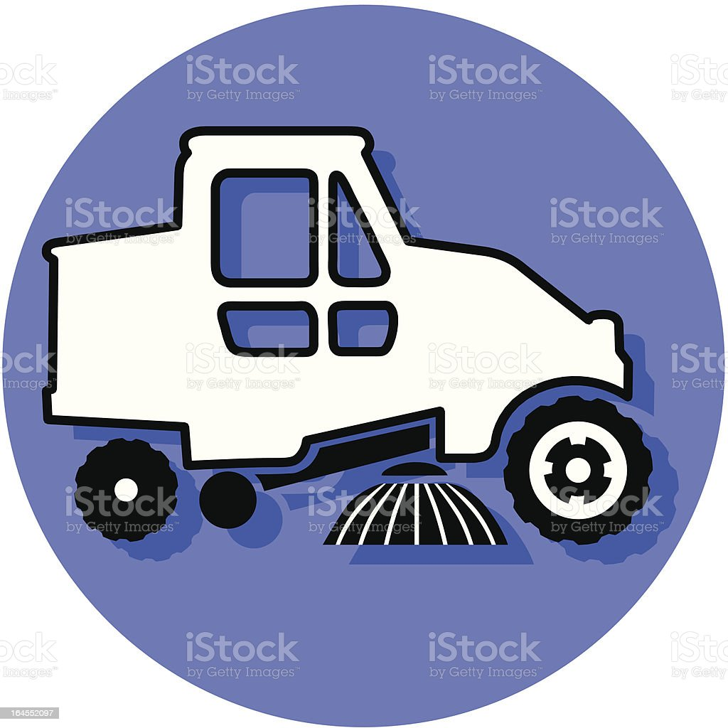 street sweeper icon vector art illustration