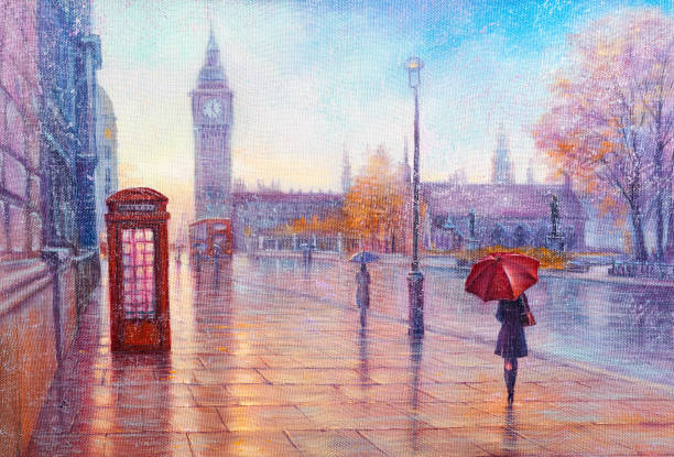 Street view of london, bus on road. Artwork. Big Ben. Oil Painting, rain in London. Gentle city landscape.  Big Ben, England, modern art. impressionism stock illustrations