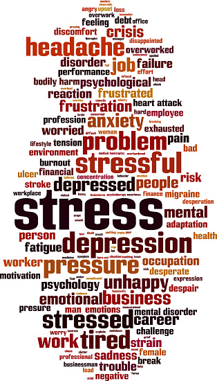 Stress word cloud concept. Collage made of words about stress. Illustration