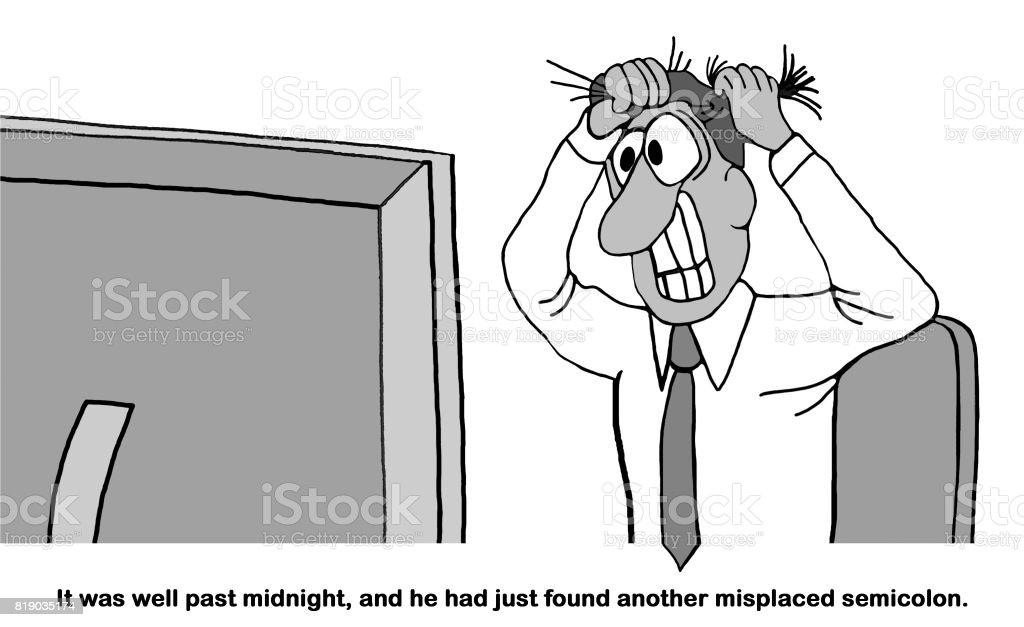 Stressed at Midnight vector art illustration