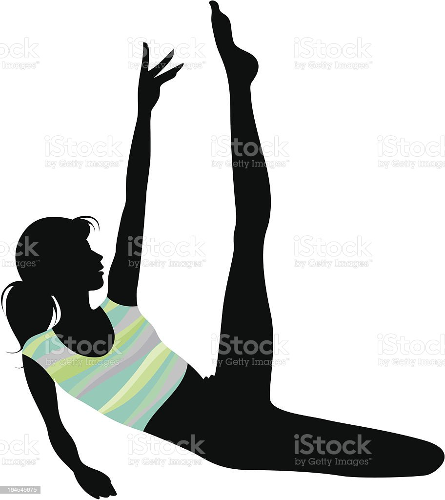 stretching exercise silhouette royalty-free stock vector art