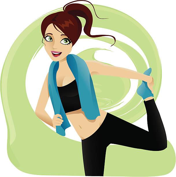 bildbanksillustrationer, clip art samt tecknat material och ikoner med stretching girl - black woman towel workout