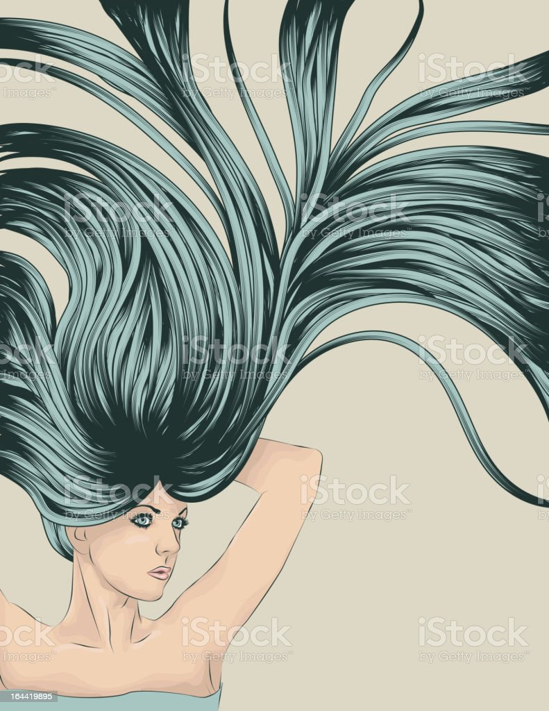 stretching woman with long detailed flowing hair vector art illustration