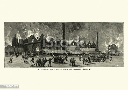 Vintage engraving of Strikers burn the glass factory, Belgium, 1886, 19th Century. The Belgian strikes of 1886, occasionally known as the social revolt of 1886 (French: Revolte sociale de 1886), was a violent period of industrial strikes and riots in Belgium between 18–29 March 1886
