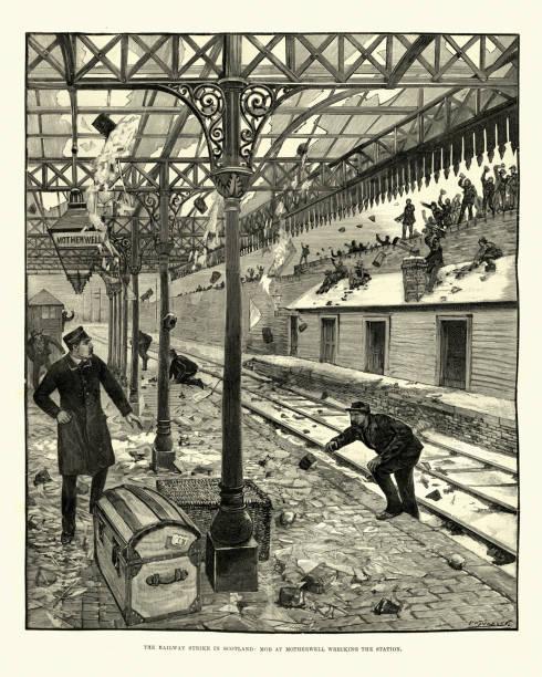 ilustrações de stock, clip art, desenhos animados e ícones de striking railway workers destroying motherwell station, scotland, 1891 - greve