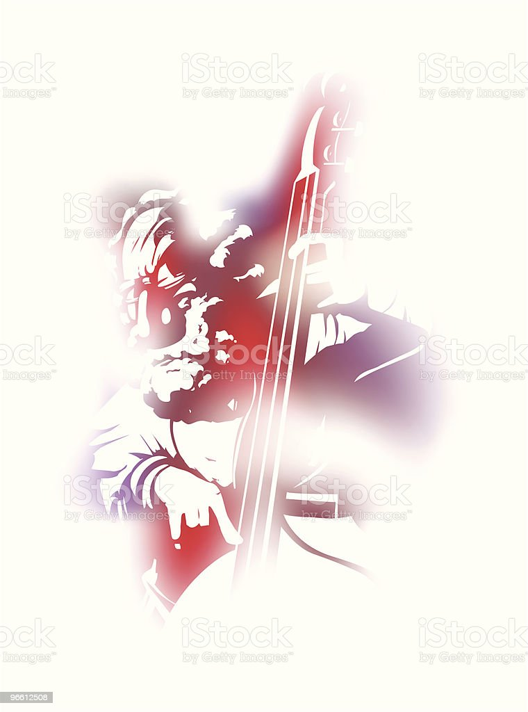 String bass player  Adult stock vector