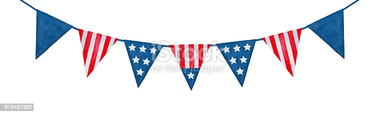 String of American flag decorative bunting watercolor illustration.