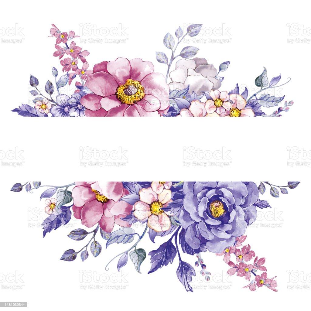 Strip Of Pink Flowers Butterflies Purple Flower Leaves Stock