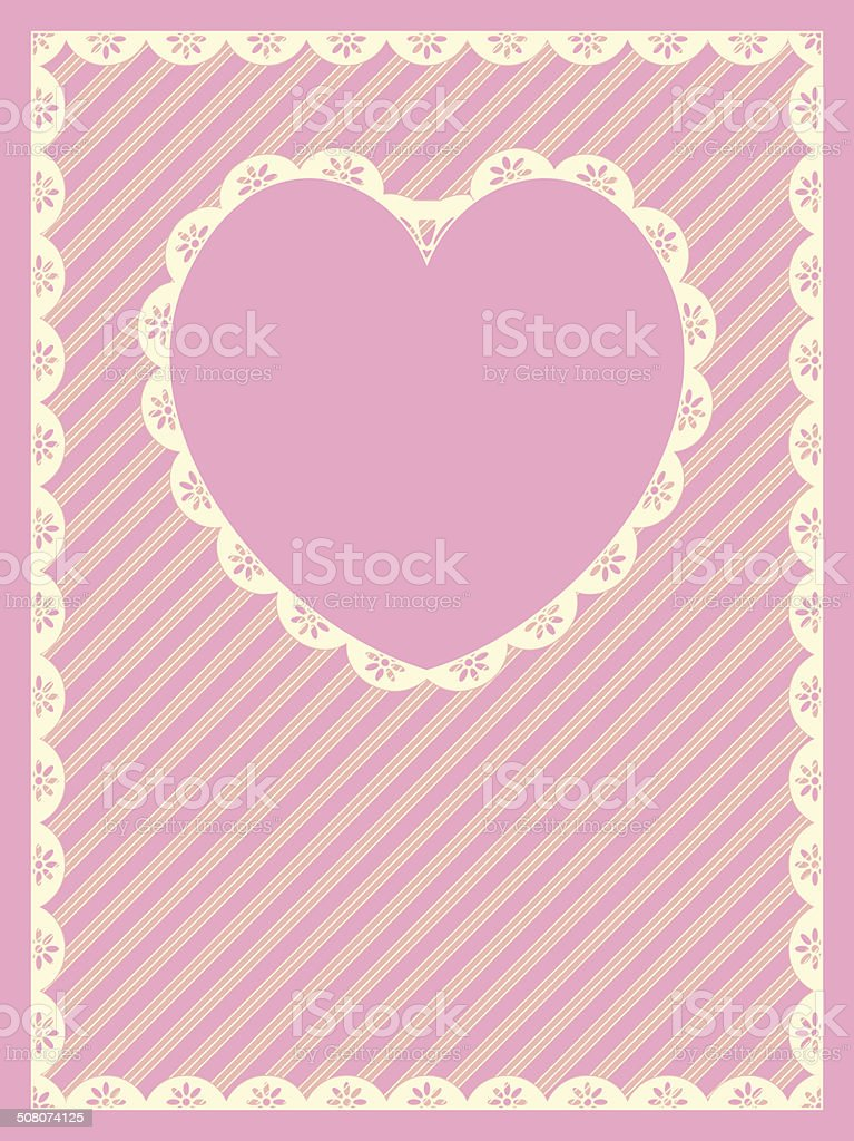 Striped Background With Heart Shaped Copy Space and Eyelet Trim vector art illustration