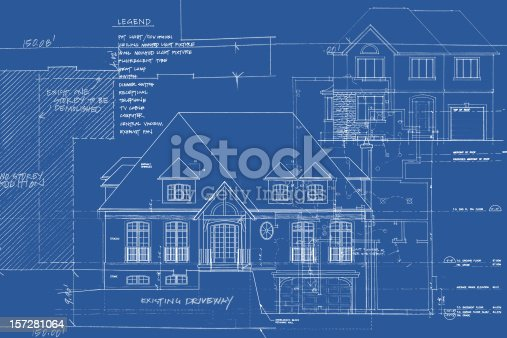 This is a composed image consisting of various blueprint images overlaid onto one another to create a jumble of visual busyness.