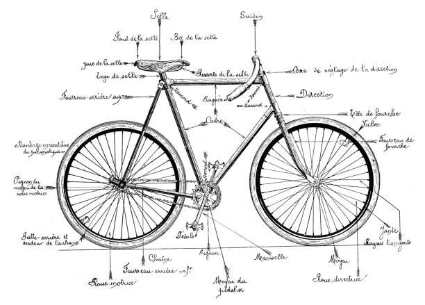 ilustraciones, imágenes clip art, dibujos animados e iconos de stock de estructura y componentes de una bicicleta de 1895 - bastidor de la bicicleta
