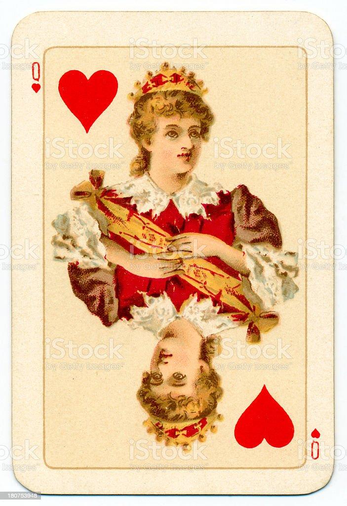 Stuart Queen of Hearts playing card Goodall 1895 vector art illustration
