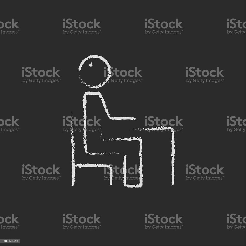 Student sitting on a chair in front of the desk vector art illustration
